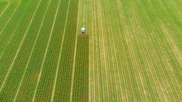 rolnictwo precyzyjne zdjęcie z lotu ptaka pola podczas zbiorów