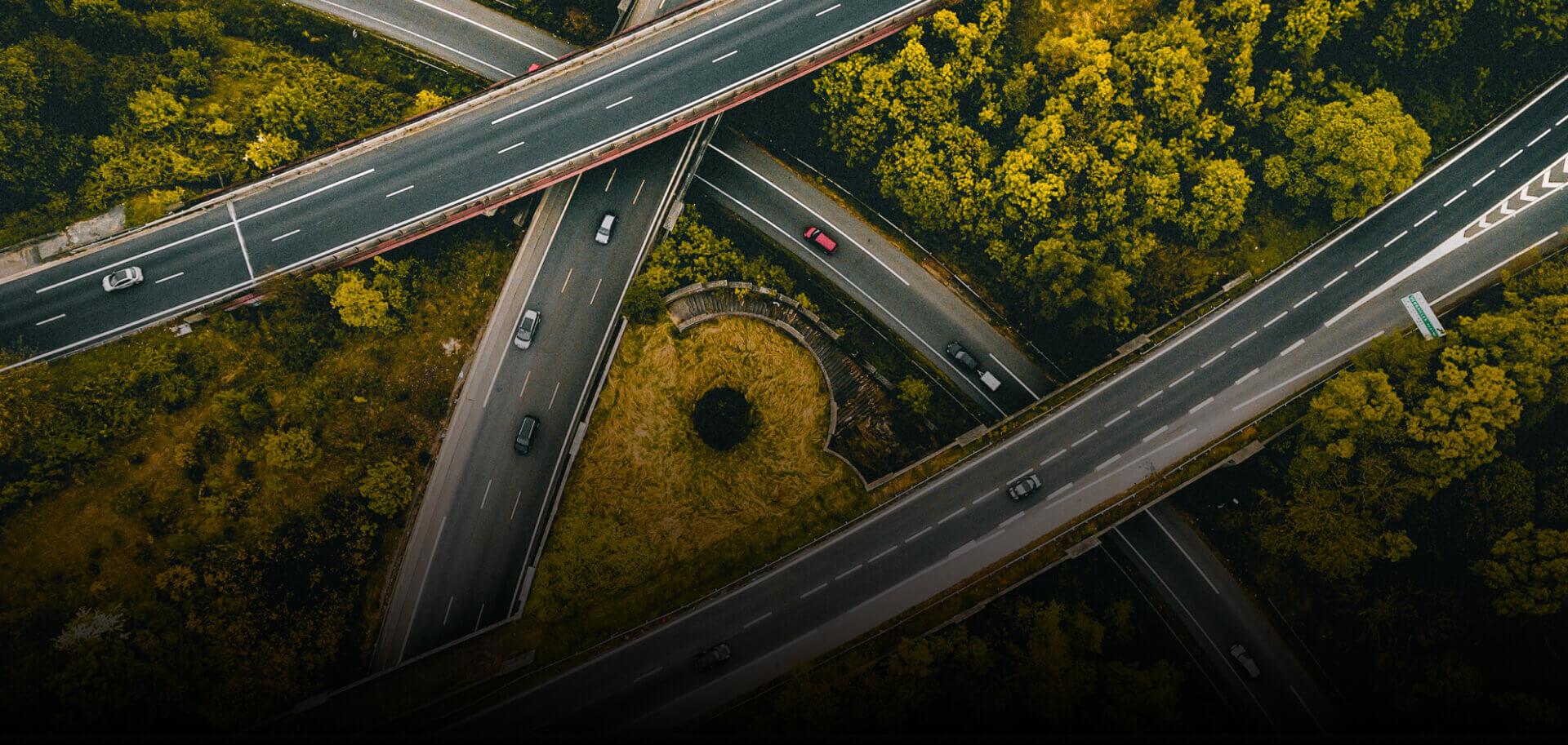 numeryczny mapa 3D terenu zdjęcie wielopoziomowego skrzyżowania drogowego