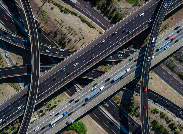 specialized geodetic measurements - aerial photo of a multi-level road intersection